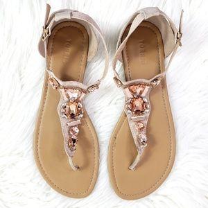 Torrid Blush Pink Rhinestone T-strap Sandals